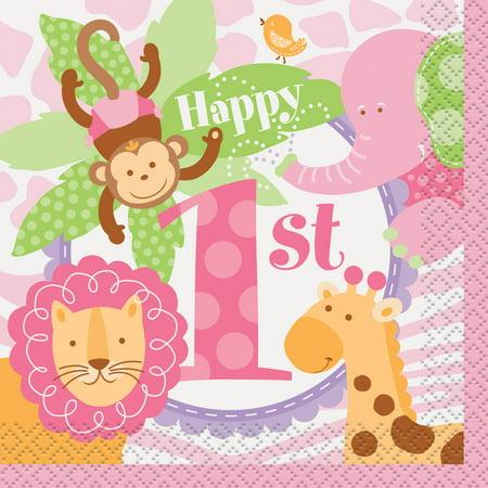1st Beverage (Pink Safari 1st Birthday Beverage Napkins,)