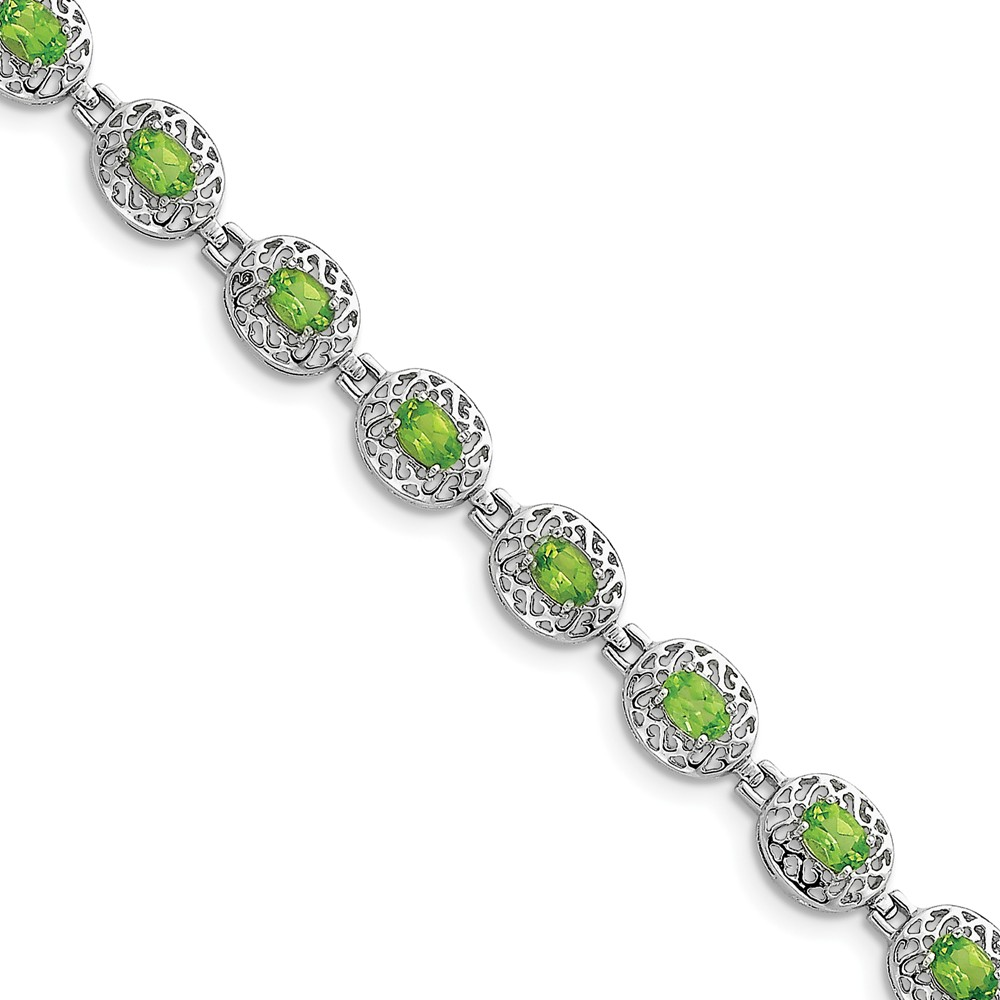 925 Sterling Silver Rhodium-plated Peridot Filigree Bracelet by Diamond2Deal