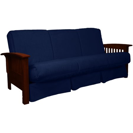 Morris Mission-Style Perfect Sit & Sleep Pocketed Coil InnerSpring Pillow Top Sofa Sleeper Bed, Queen, Mahogany, Suede Dark Blue