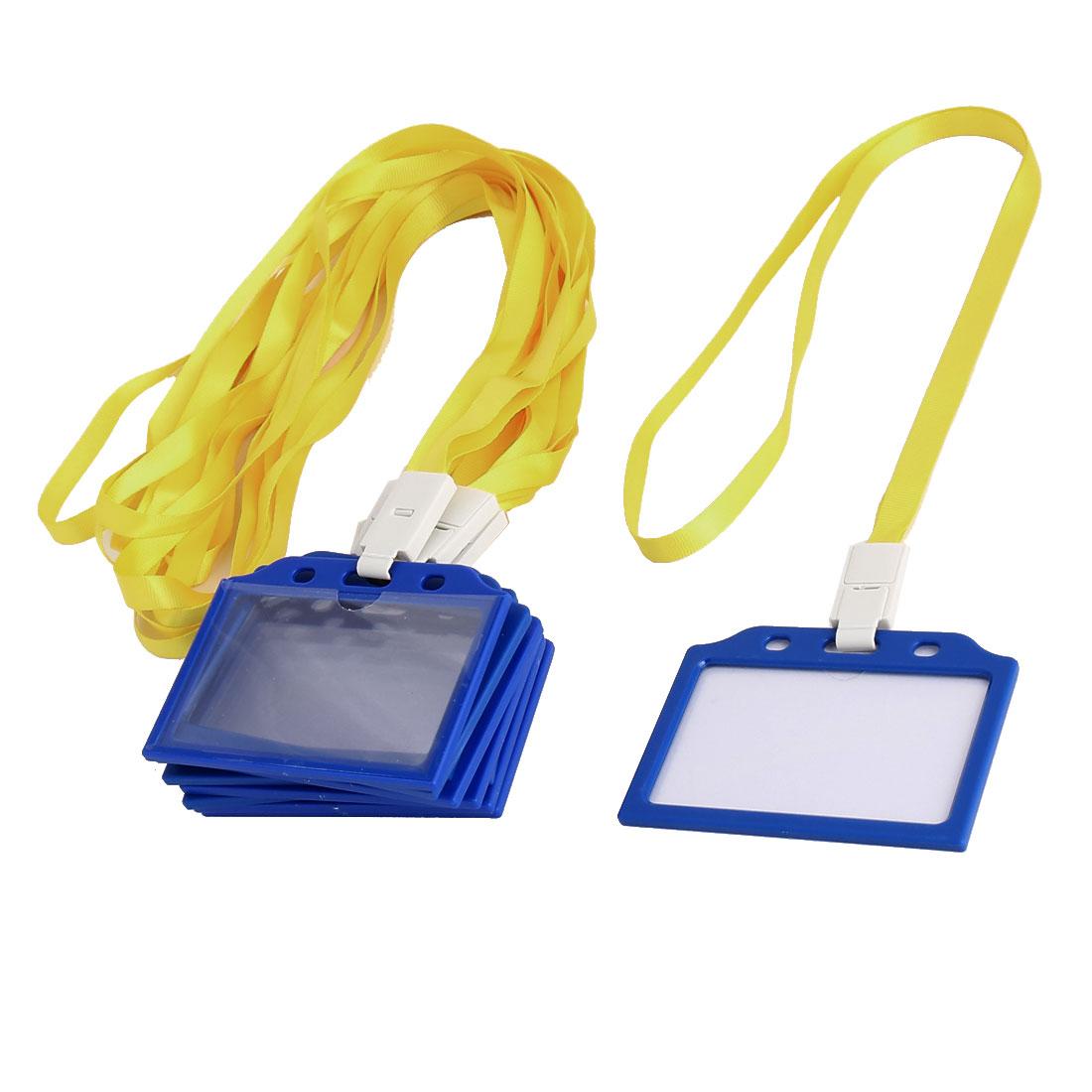Office School Plastic Horizontal Dustproof Name Tag Holder Yellow Clear 10 Pcs