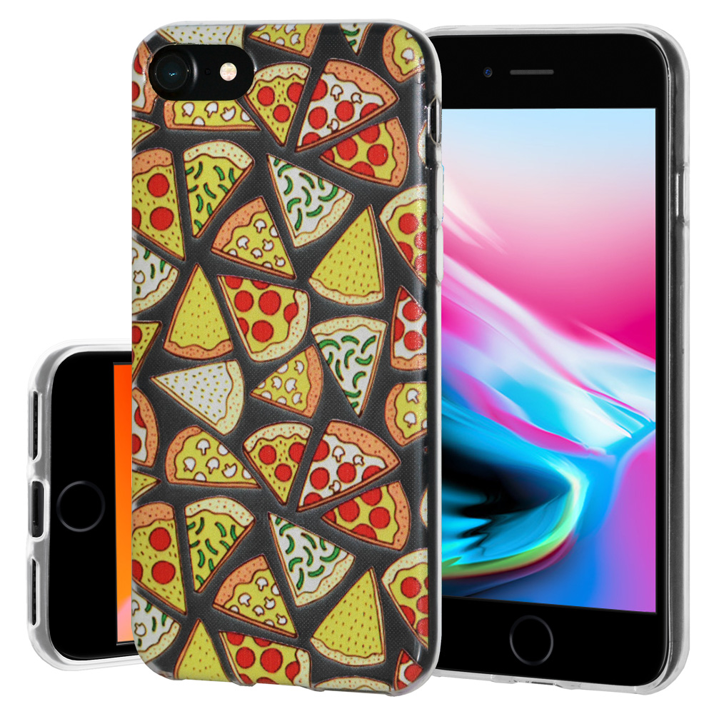 iPhone 8 Case, Premium Soft Gel Clear TPU Graphic Skin Case Cover for Apple iPhone 8 - Modern Pizza Print, Support Wireless Charging, Slim Fit, ShockProof