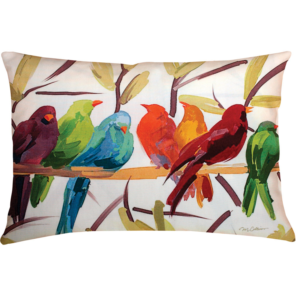Manual Woodworkers & Weavers Flocked Together Birds Throw Pillow