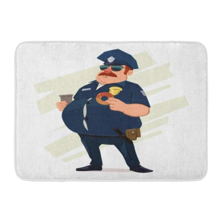 GODPOK Cop White Man Police Officer Donuts Coffee Fat Policeman Cartoon Character Guard Guy Rug Doormat Bath Mat 23.6x15.7 - Fat White Guy