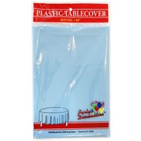 """Light Blue  84"""" Round Plastic Disposable Party  Tablelcoth"""