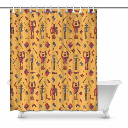 MKHERT Cute Robot Bathroom Shower Curtain 60x72 Inch