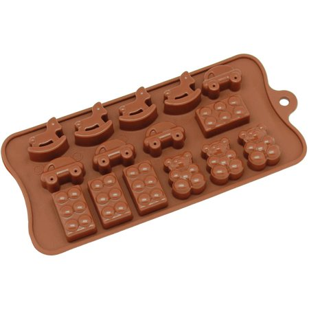 Freshware 15-Cavity Toy, Car, Block and Bear Silicone Mold for Chocolate, Candy and Gummy, - Chocolate Cars