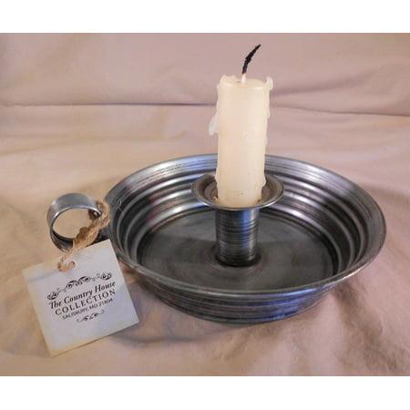 Ol' Tin Chamber Stick Vintage Style Taper Bedside Candle Holder, 6.5