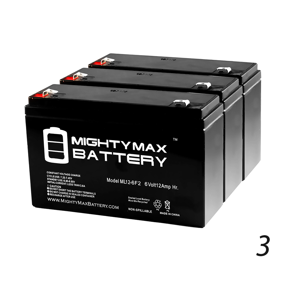 6V 12AH F2 SLA Replacement Battery for Amstron AP-6120F2 - 3 Pack