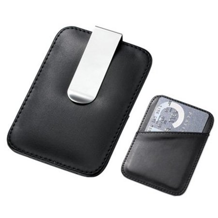 PU Leatherette Card Holder in Black with Silver Money Clip Black Leatherette Money Clip
