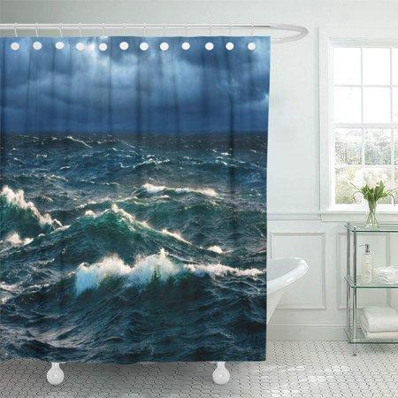 Cynlon Rough Sea Breaking Waves At Rising Storm Ocean Seascape Bathroom Decor Bath Shower Curtain 66x72 Inch Walmart Com Walmart Com