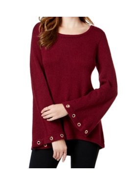 Kensie NEW Red Womens Size Small S Grommet Bell-Sleeve Pullover Sweater