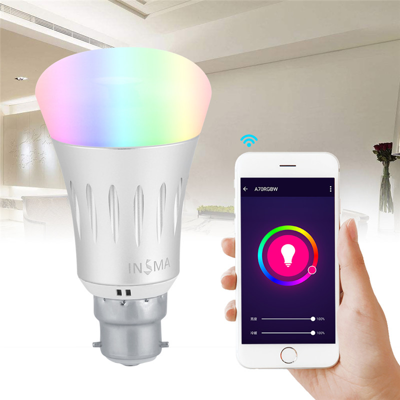 7W B22 WiFi Smart LED Bulb, Wireless Remote Control Dimmable RGBW Smart LED Bulb Lamp Light