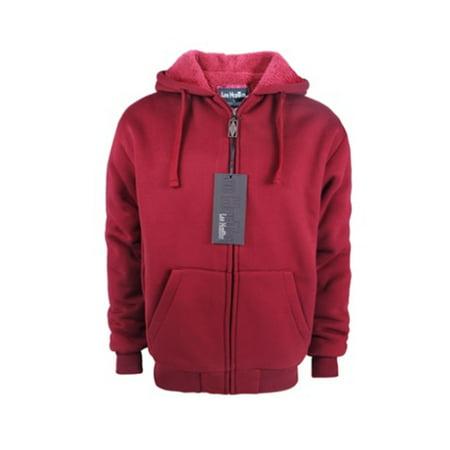 leehanton zip hoodie men sherpa lined thermal long sleeve winter basic jackets (red, 2x-large)