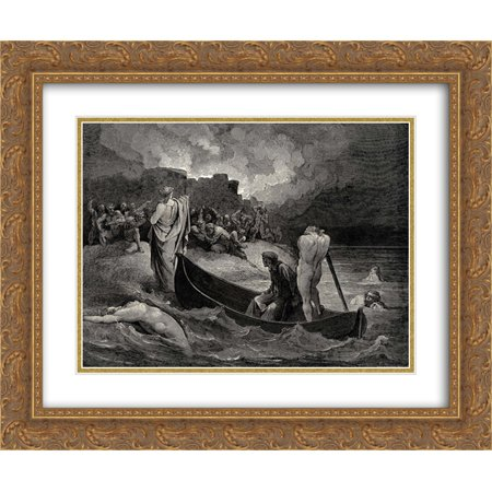 Gustave Dore 2x Matted 24x20 Gold Ornate Framed Art Print 'The Inferno, Canto 8, lines 110'111: I could not hear what terms he offer?d them, But they conferr?d not