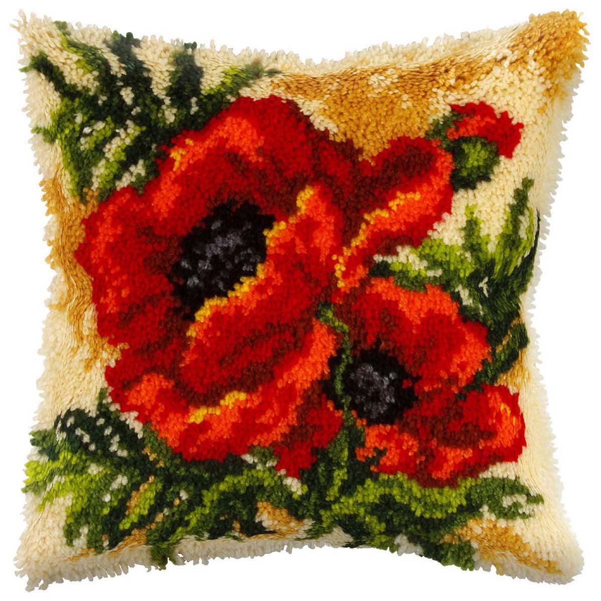 Poppies Pillow Latch Hook Kit