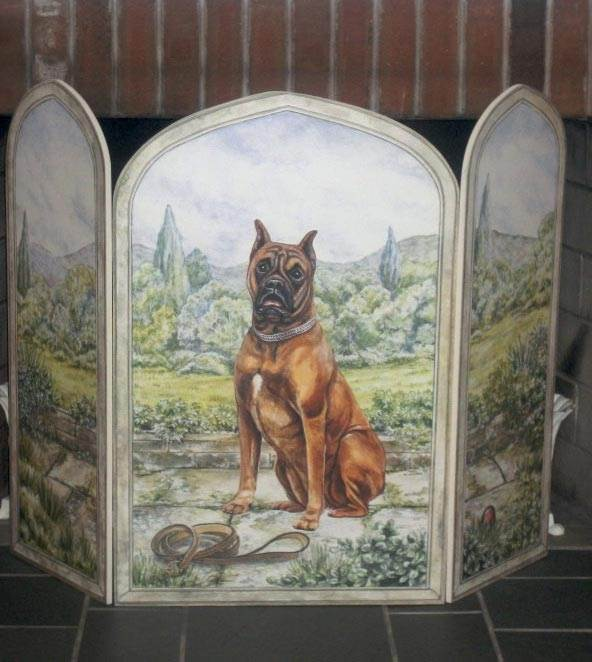 Boxer Dog 3 Panel Decorative Fireplace Screen
