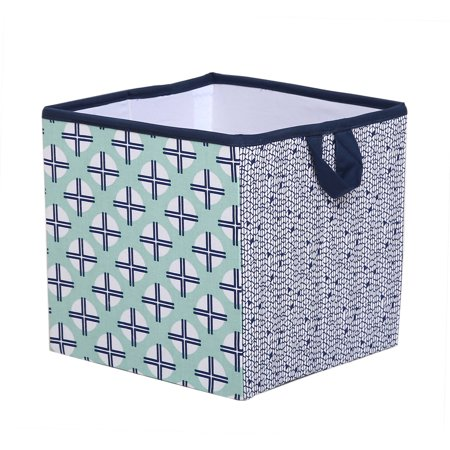Bacati - Tribal Noah Mint/Navy Cotton Percale Fabric covered Storage, Small Box, 10 L  x 10 W x 10 H inches
