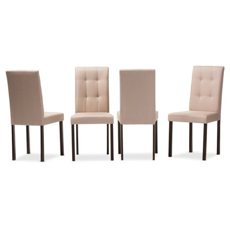 Set of 4 Baxton Studio Andrew Modern and Contemporary Beige Fabric Upholstered Grid-tufting Dining Chair 4 Upholstered Dining Chairs
