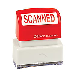 "Office Depot Pre-Inked Message Stamp, """"Scanned"""", Red, 034211"