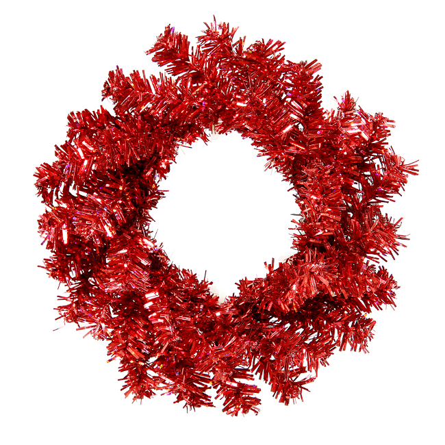 "6"" Mini Red Artificial Tinsel Christmas Wreath - Unlit"