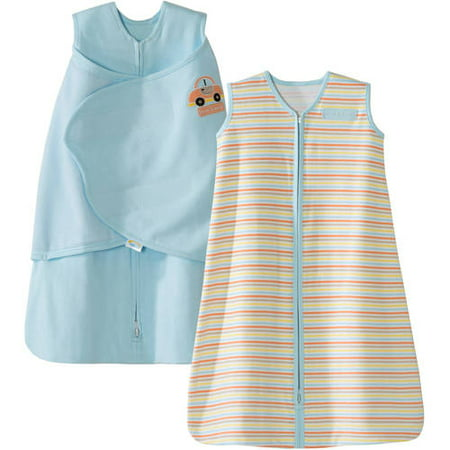 HALO SleepSack Swaddle and Wearable Blanket 2-Piece Gift Set, Cotton, Blue, Newborn ()