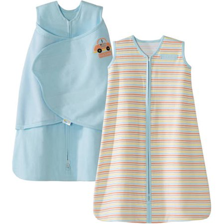 HALO SleepSack Swaddle and Wearable Blanket 2-Piece Gift Set, Cotton, Blue, Newborn