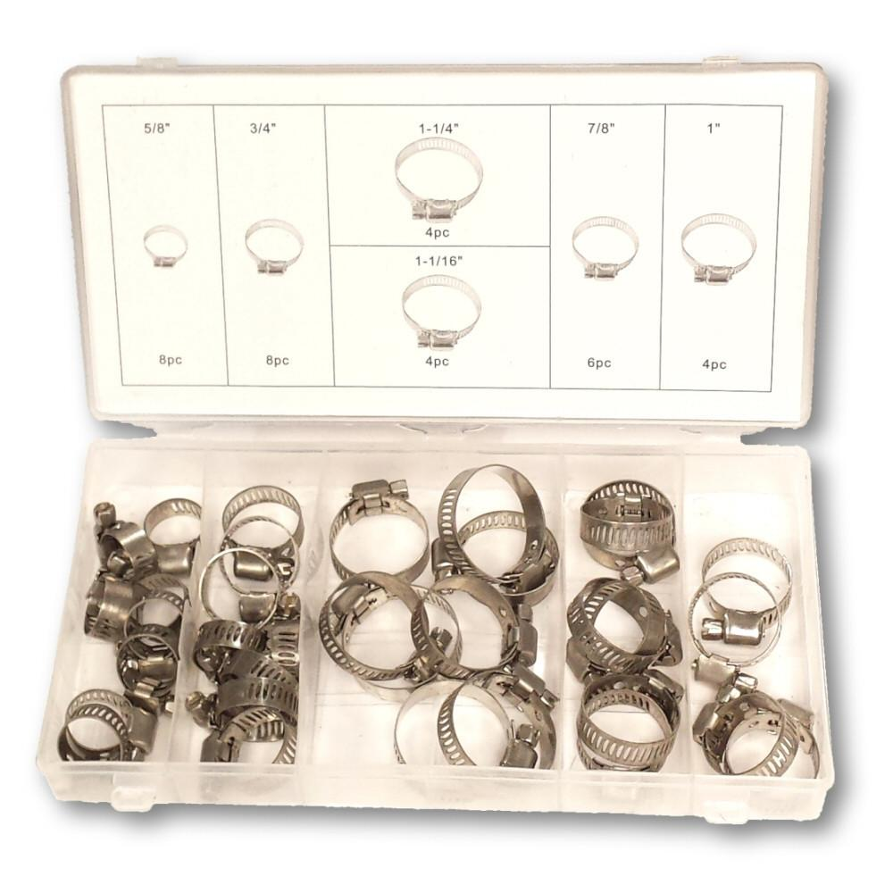 Stainless Steel Hose Clamps Assorted Size Hardware Kit