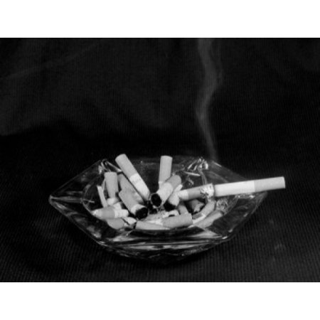 - Ashtray full of cigarette butts with single cigarette smoking Stretched Canvas -  (24 x 36)