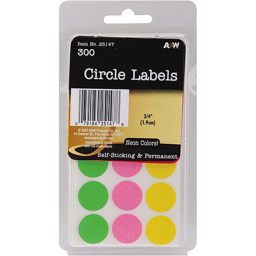 "Labels, Neon Circles, .75"", 300pk"