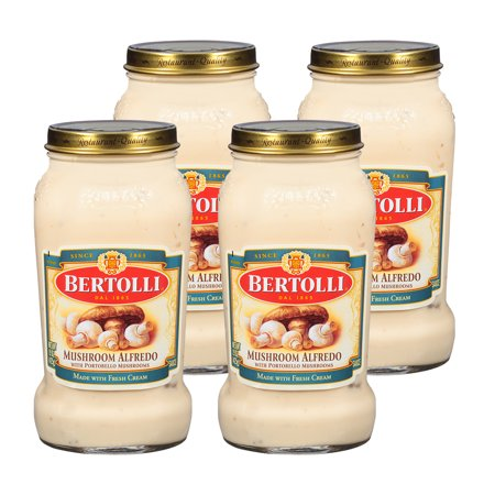 (4 Pack) Bertolli Mushroom Alfredo with Portobello Mushrooms Pasta Sauce 15 oz.