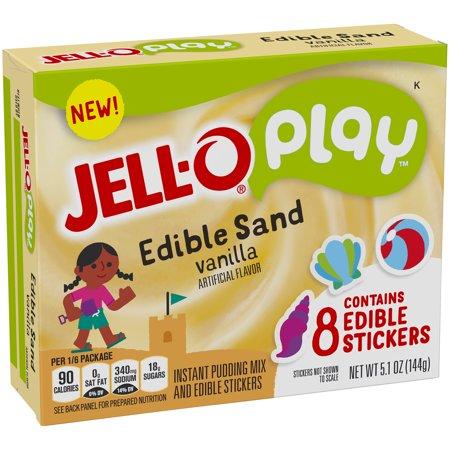 (4 Pack) Jell-O Play Edible Sand Vanilla Pudding, 5.9 oz Box