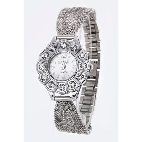 Le Chic Silver & Clear Mesh Crystal Watch