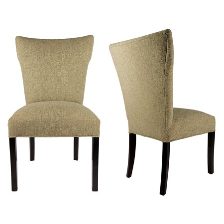 Sole Designs Bella Collection Upholstered Wing Back Armless Dining Side Chair with Espresso Legs and Spring Seating - Set of 2