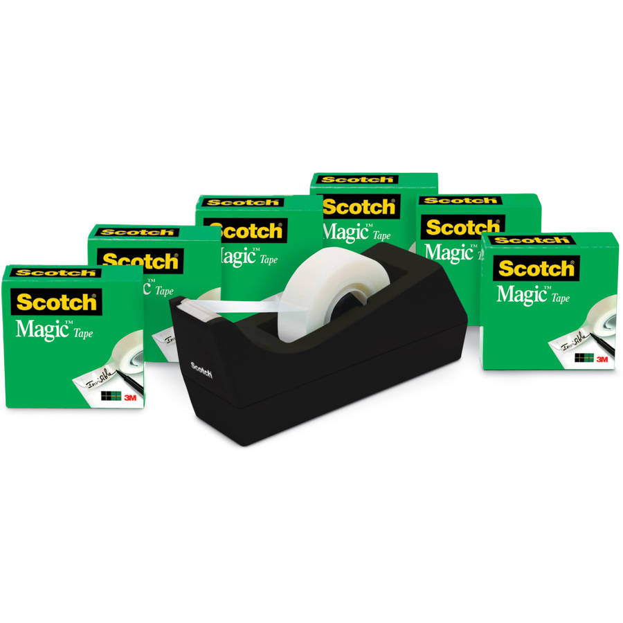 Scotch Magic Office Tape Value Pack with Desktop Dispenser, 6 Rolls, 3/4in. X 1000in. Per Roll, Clear