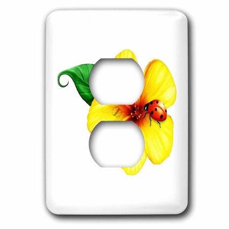 3dRose A pretty yellow wildflower with a colorful ladybug - 2 Plug Outlet Cover (lsp_17114_6)