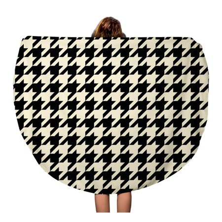 KDAGR 60 inch Round Beach Towel Blanket Brown Tooth Black and Tan Colored Houndstooth Pattern Check Travel Circle Circular Towels Mat Tapestry Beach (Roun Brown)