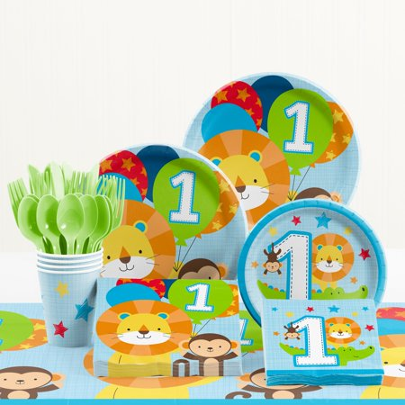 One is Fun Boy 1st Birthday Party Supplies Kit (1st Birthday Party City)
