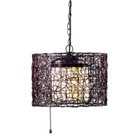 Kenroy Home Tanglewood Outdoor Pendant, Oil Rubbed Bronze, 16 Inch Dia, Rattan Bird-Nest Design Shade, White Glass Inner Bulb Shield, UL Listed for Wet Locations, On/Off Pull Switch, No Hardwiring
