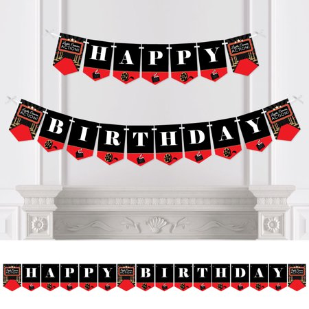 Red Carpet Hollywood - Movie Night Birthday Party Bunting Banner - Birthday Party Decorations - Happy Birthday - Hollywood Banner