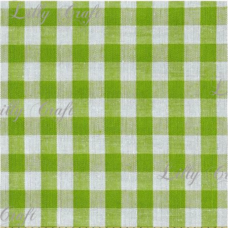 Gingham Checkered Poly Cotton 1/4 Inch Lime Green Fabric - Sold By The Yard - 57