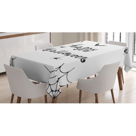 Spider Web Tablecloth, Happy Halloween Celebration Monochrome Hand Drawn Style Creepy Doodle Artwork, Rectangular Table Cover for Dining Room Kitchen, 60 X 84 Inches, Black White, by - Happy Halloween Creepy