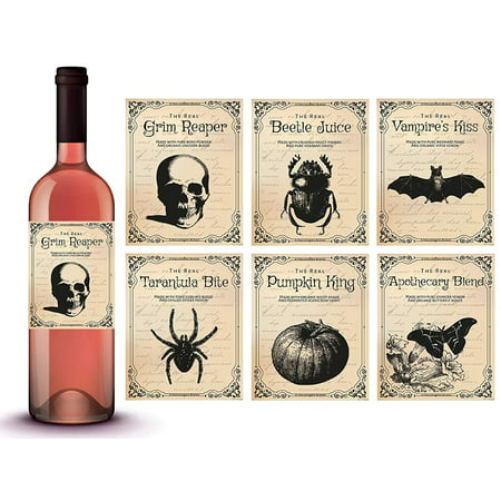Vintage Halloween Decorations | 6 Wine Bottle Stickers | Scary Halloween Party Supplies and Decorations, Photo Props and Party Favors - Wine Bottle Covers Halloween
