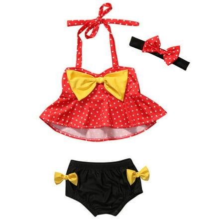 StylesILove Cute Baby Girl Polka Dot Yellow Bowknot Bikini with Headband 3 pcs Set Swimwear Bathing Beach Suit (100/18-24 - Cute Swimsuits For Tweens