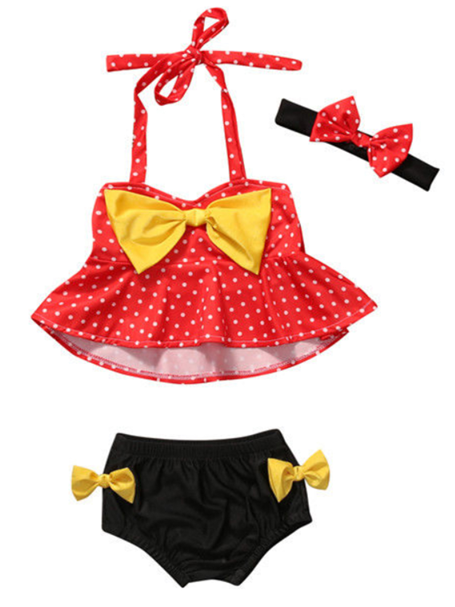 StylesILove Cute Baby Girl Polka Dot Yellow Bowknot Bikini with Headband 3 pcs Set Swimwear Bathing Beach Suit (100/18-24 Months)