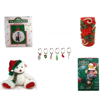 Classic Traditions Holly (Christmas Fun Gift Bundle [5 Piece] - Traditions Soldier Cross Stitch -  Candle Holly Berry Pillar 3 x 6 - LSArts Wine Glass Charms  Set of 6 -)