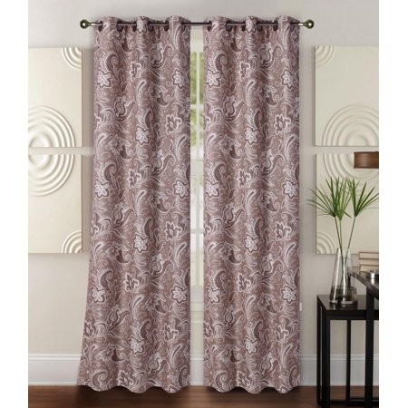 "FLORAL#1    1-Piece Paisley Floral Room Darkening Block Light Grommet Top Printed Window Curtain Panel 37""W X 84""L"