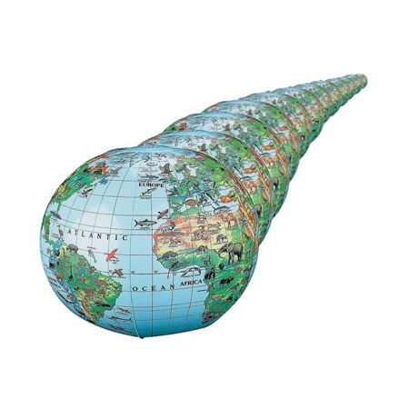 Animal World Globes, Inflatable World Globes with Animals (dozen) - Inflatable World Globe