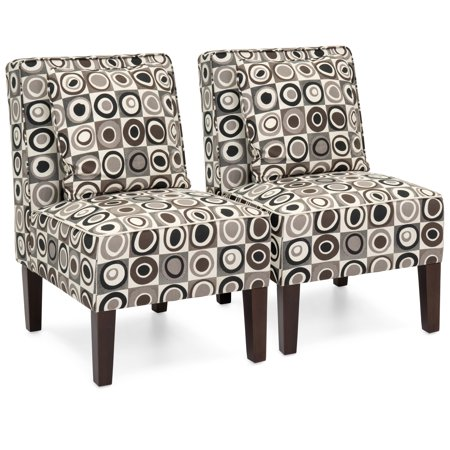Best Choice Products Upholstered Armless Living Room Accent Chairs with Pillows, Set of 2, Geometric Circle Design
