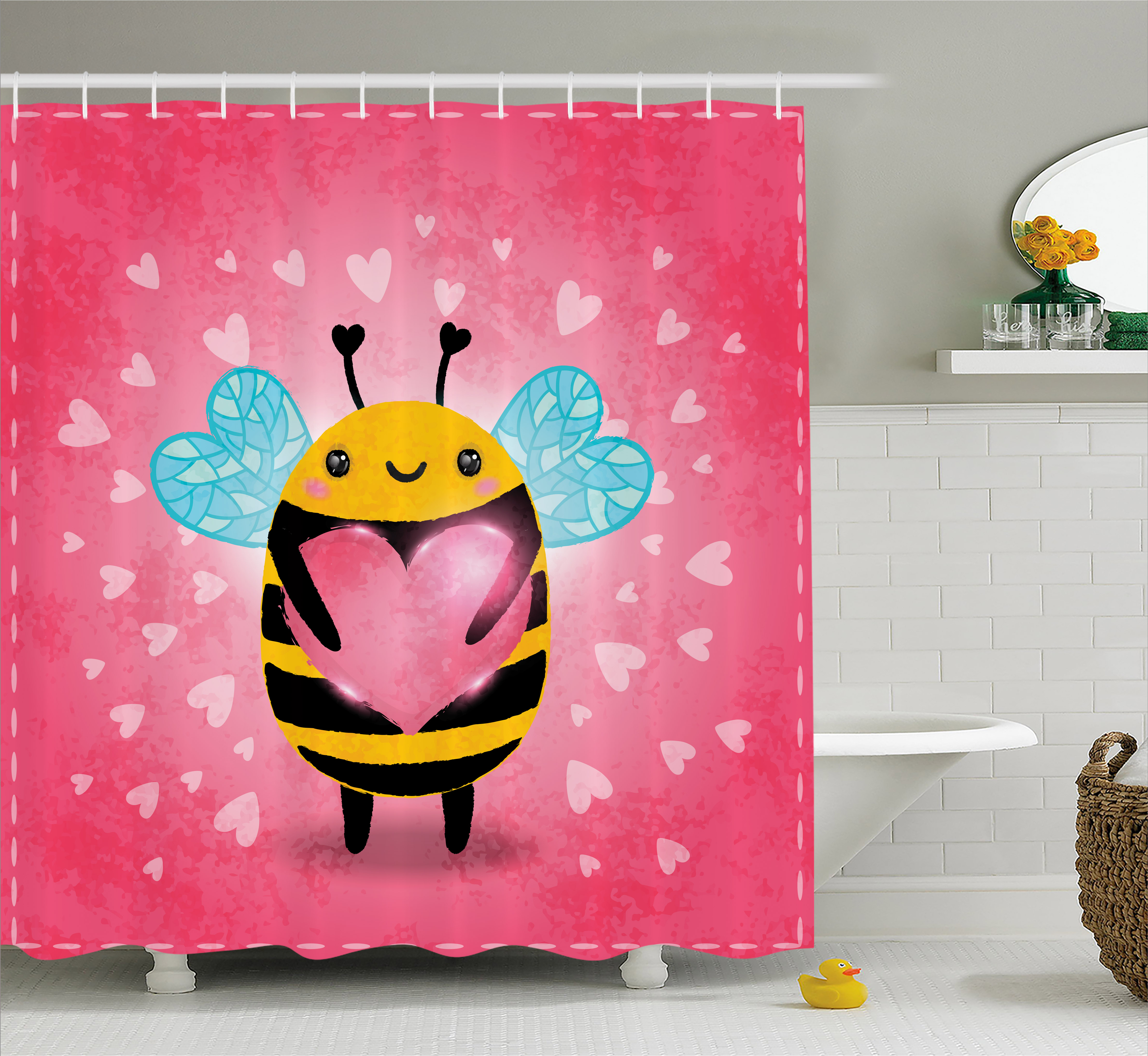 Queen Bee Shower Curtain, Valentine's Day Themed Bumblebee Holding a Giant Heart Cartoon Style, Fabric Bathroom Set with Hooks, 69W X 84L Inches Extra Long, Coral Pale Blue Yellow, by Ambesonne