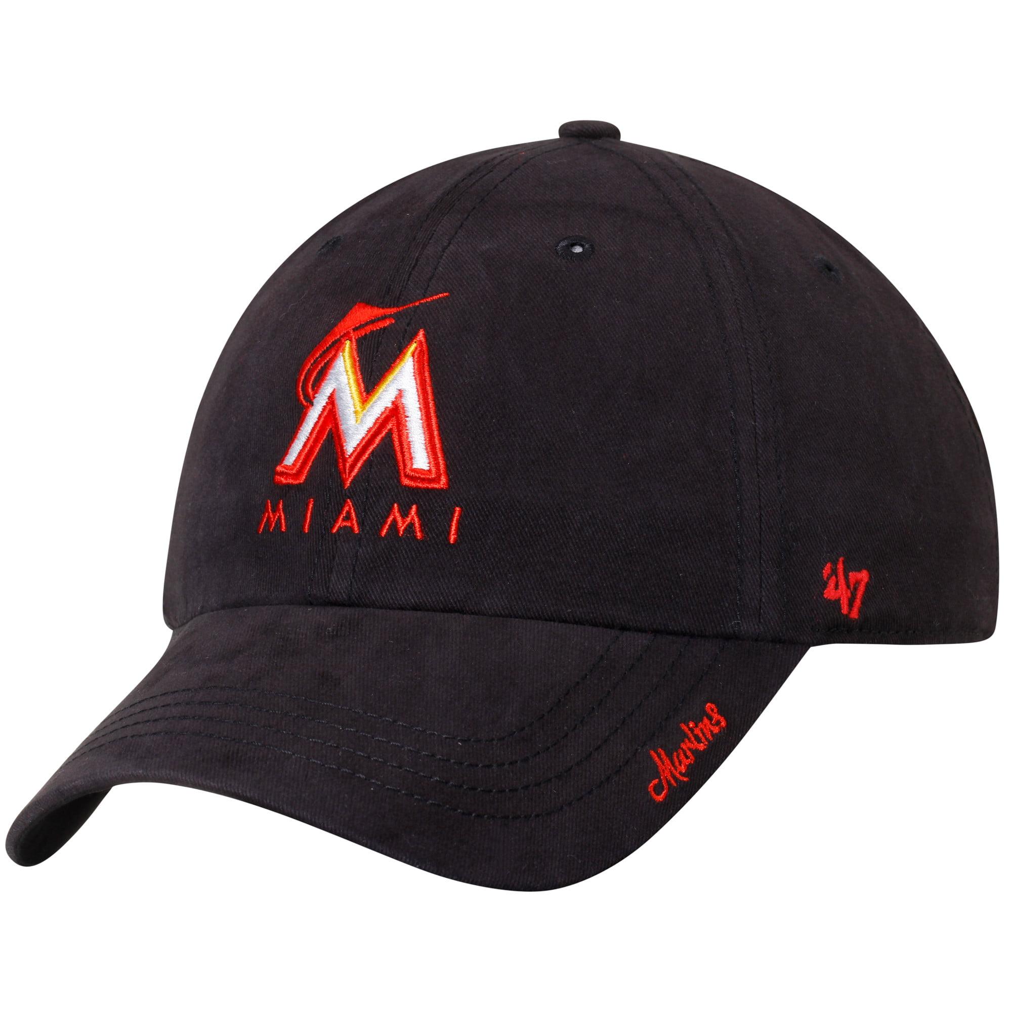 Miami Marlins '47 Women's Miata Clean Up Adjustable Hat - Black - OSFA